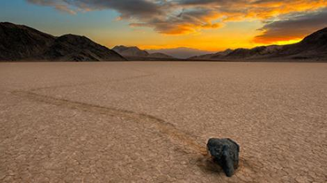 One of the traveling rocks at the Racetrack in Death Valley National Park