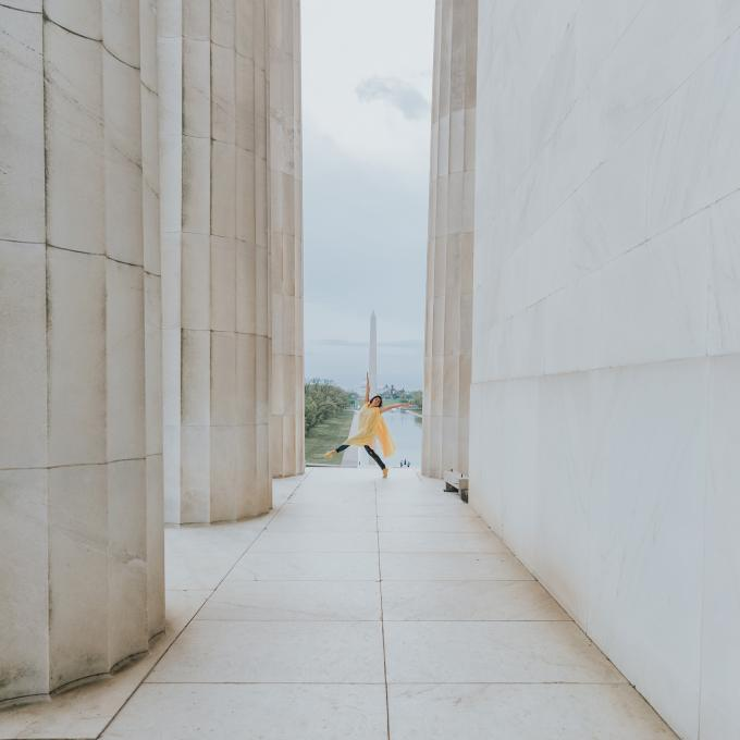 Dancing among the monuments of the National Mall in Washington, D.C.