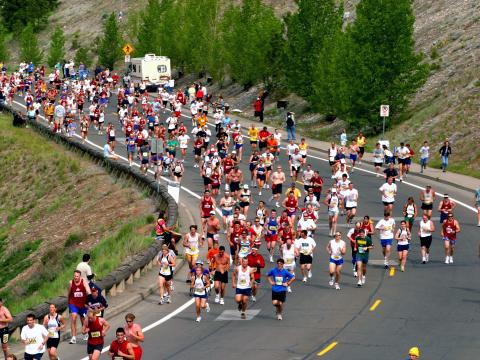 Runners rounding the bend in May's Bloomsday Run