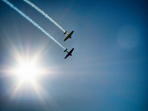 Aircrafts soar over Jones Beach State Park each May on Long Island
