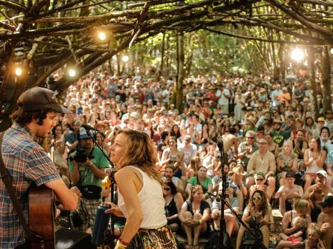Band performing at Pickathon festival in Happy Valley, Oregon