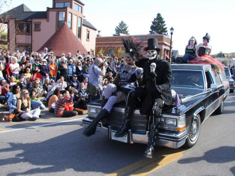 Skeletal crew in the parade for the Emma Crawford Coffin Races & Festival