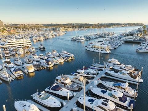 Overlooking the marina filled with boats during MarinaFest in Marina del Rey, California