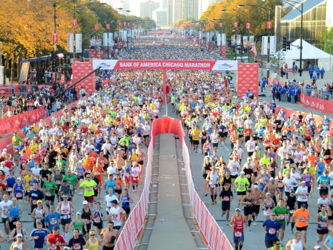 Some of the 45,000 runners competing in the Chicago Marathon