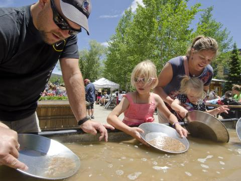 Trying gold panning in Breckenridge