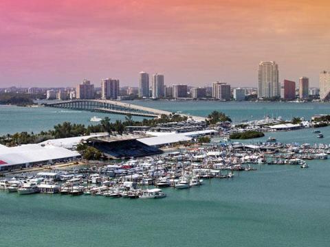 Miami International Boat Show at the Miami Marine Stadium Park & Basin in Florida