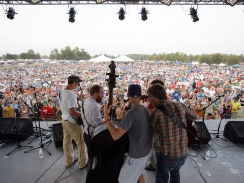 Live bluegrass music performance during ROMP festival in Owensboro, Kentucky