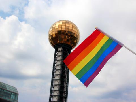A rainbow flag flying at World's Fair Park during Knox Pride Fall Festival in Knoxville, Tennessee