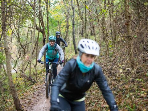 Mountain bikers hitting the trail during Outerbike in Bentonville, Arkansas