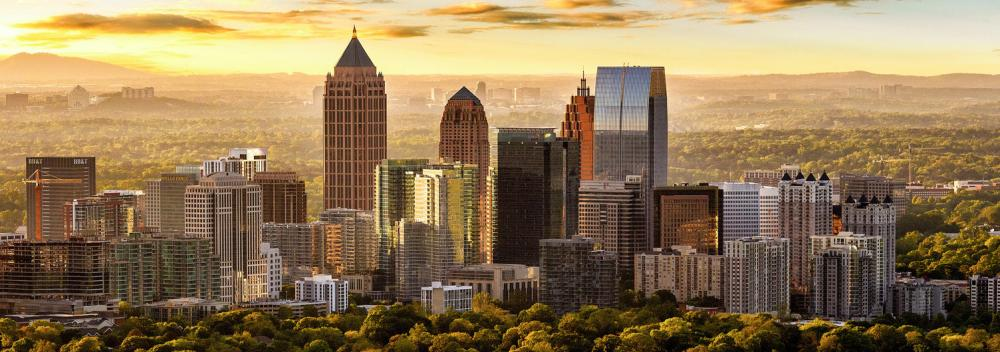 Sunlit skyline of Atlanta, Georgia