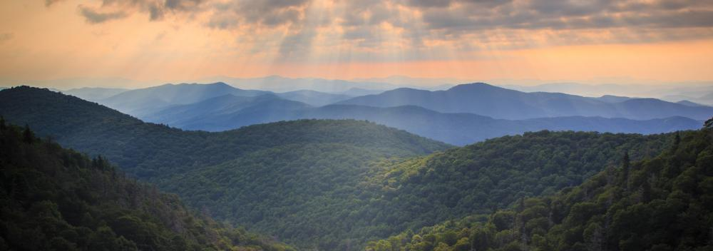 Sun shining over the Blue Ridge Mountains in North Carolina