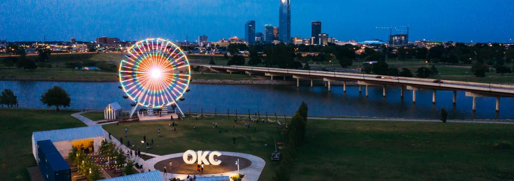 Wheeler Ferris Wheel at dusk, overlooking the Oklahoma City skyline