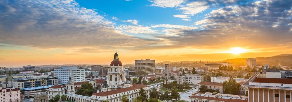 View over the skyline of Pasadena, California