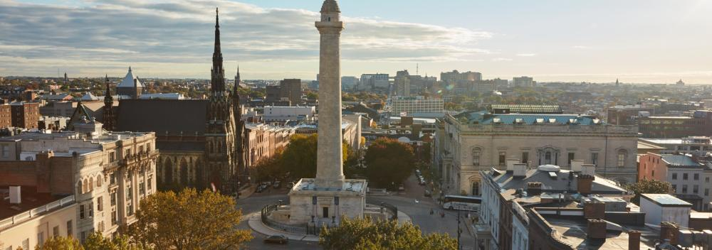 Washington Monument and Mount Vernon Place in Baltimore, Maryland