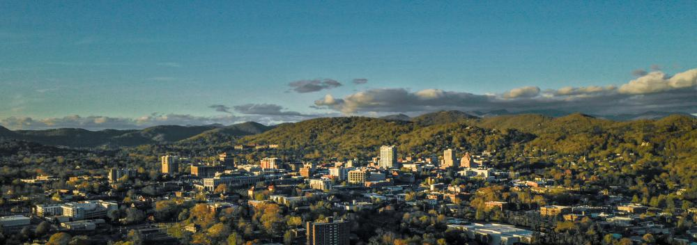 Asheville, North Carolina, skyline framed by the Blue Ridge Mountains