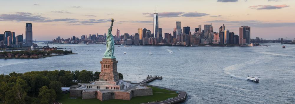 The Statue of Liberty and New York City, New York, skyline
