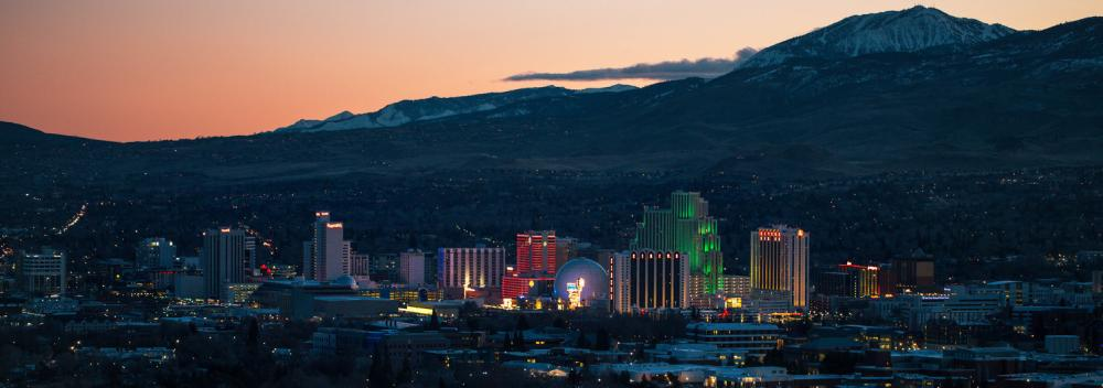 Reno, Nevada, skyline against the Sierra Nevada Mountains