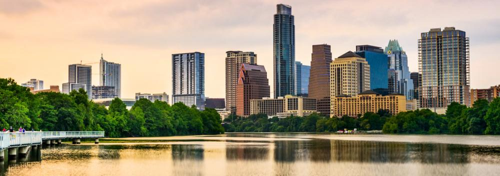 Lady Bird Lake cuts through downtown Austin, Texas