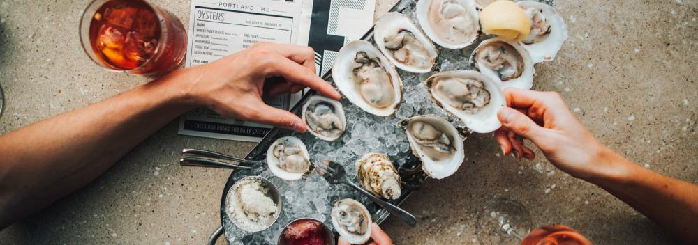 Oysters on ice at Eventide Oyster Co. in Portland, Maine