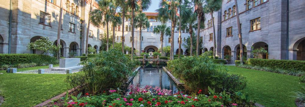 The courtyard of the Lightner Museum in St. Augustine, Florida
